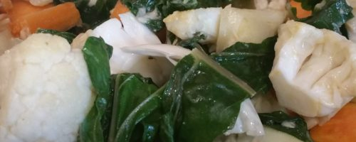 Chou fleur et patate douce à l'étouffée