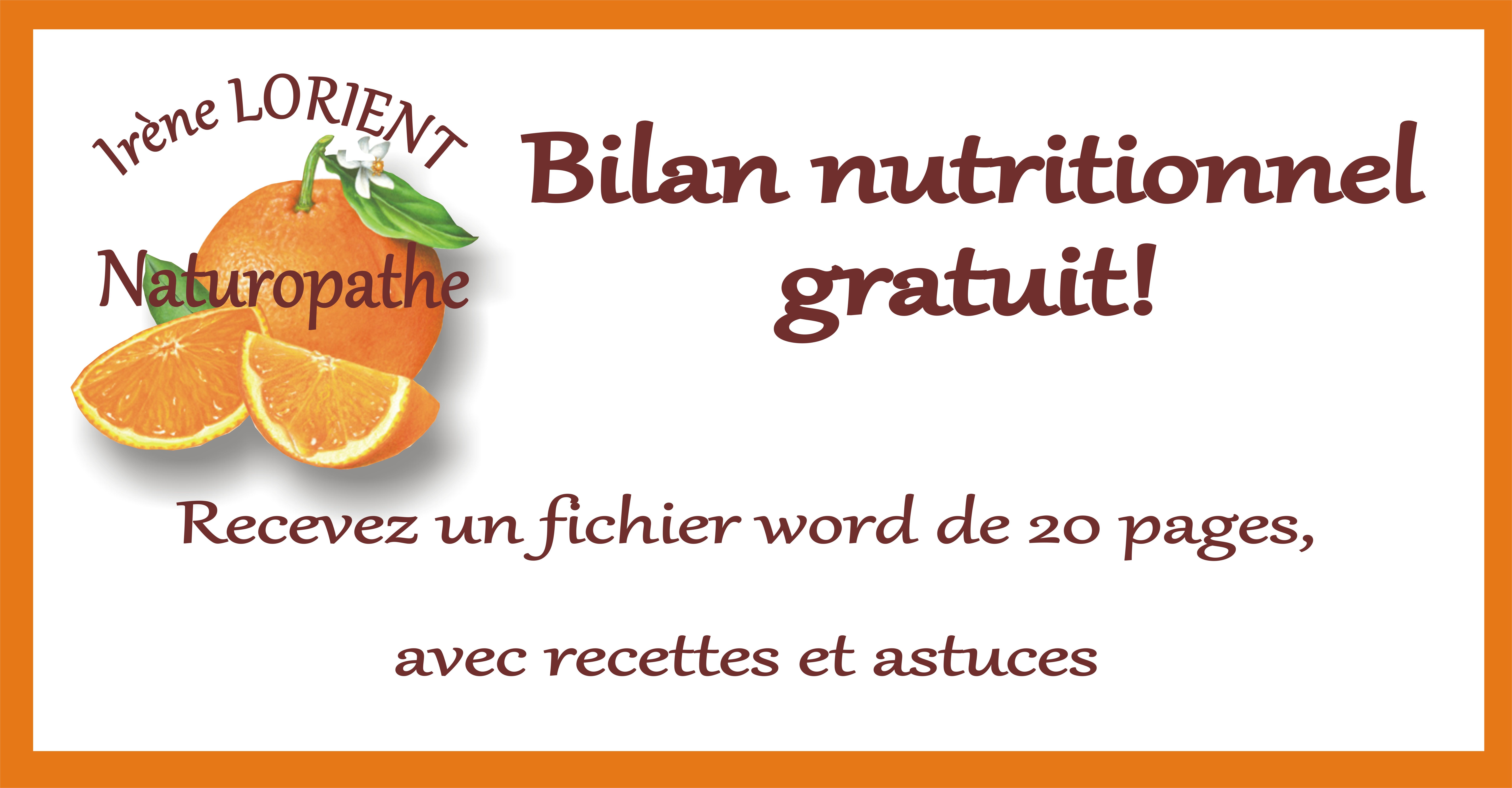 Demandez votre bilan nutritionnel gratuit!